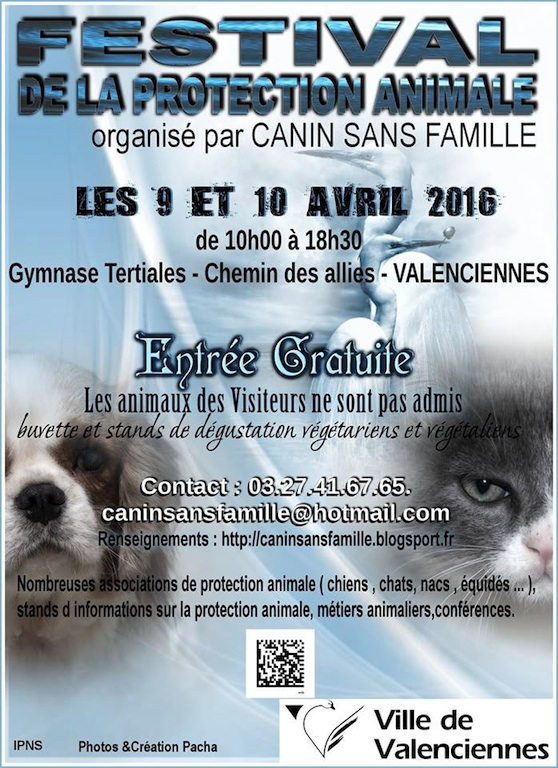 Affiche festival protection animale valenciennes 2016